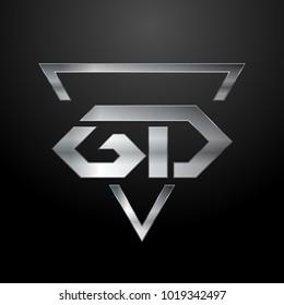 GD Logo, Metal Logo, Silver Logo, Monogram, Polygon