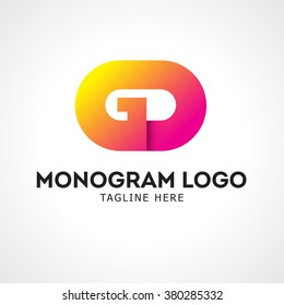 GD monogram typography. label for your logo badge or crest