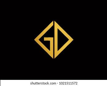 GD square shape gold color logo
