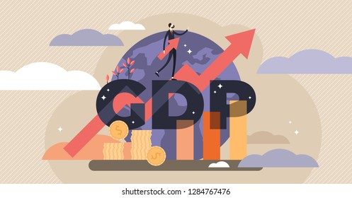 GDP vector illustration.Flat tiny persons concept with gross domestic product per capita.Businessman with ascending economical data arrow.National earning profit measurement and index.Financial value.