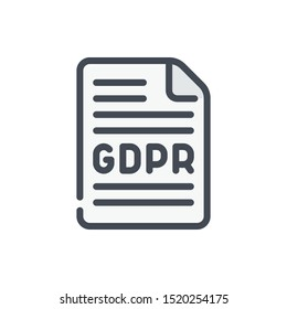 GDPR agreement color line icon. Document with protection agreement vector outline colorful sign.