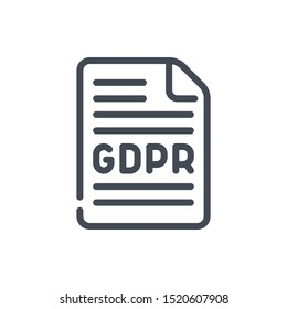 GDPR agreement line icon. Document with protection agreement vector outline sign.