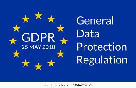 GDPR banner. General Data Protection Regulation symbol with EU flag. Vector illustration.