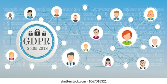 GDPR button with EU Flag and social network with human faces on the blue background. Eps 10 vector file.