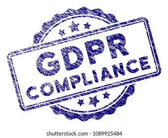 GDPR Compliance stamp seal. Vector element with grainy design and corroded texture in blue color. Designed for overlay watermarks and grunge textured rubber seal imitations.