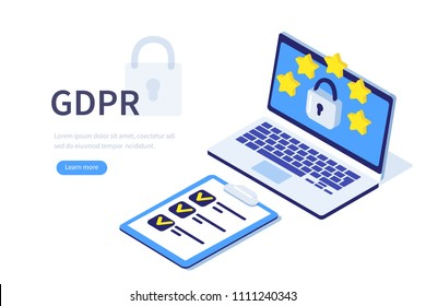 GDPR concept. Can use for web banner, infographics, hero images. Flat isometric vector illustration isolated on white background.