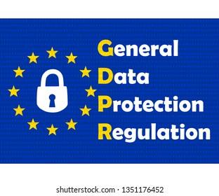 Gdpr concept, data protection, lock locked password