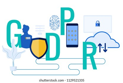 GDPR concept. General Data Protection Regulation for protect the personal data and privacy. Cartoon Vector Illustration.