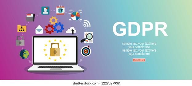 GDPR concept illustration. Idea of data protection. Flat vector design illustration.