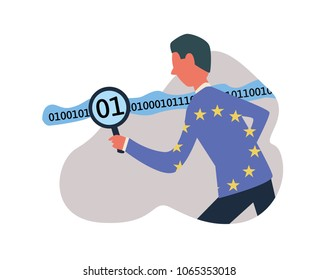 GDPR, concept vector illustration. General Data Protection Regulation. DPO, Data protection officer working with digital information.