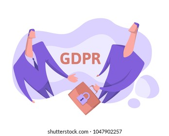 GDPR, concept vector illustration, isolated on white. General Data Protection Regulation. The protection of personal data. One person passes to another a briefcase with classified information.