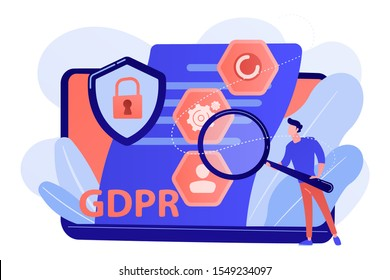 GDPR and cyber security, confidential database. General data protection regulation, personal information control, browser cookies permission concept. Pink coral blue vector isolated illustration