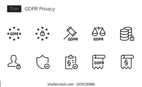 GDPR Data Privacy icons - General Data Protection Regulation