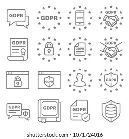 GDPR Data Privacy vector icon set. Included the icons as security information, data protection, shield, certificate, compliant, personal data, database and more