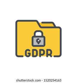GDPR data protection color line icon. Folder with personal data protection vector outline colorful sign.