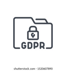 GDPR data protection line icon. Folder with personal data protection vector outline sign.