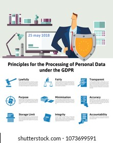 GDPR, DSGVO, RGPD concept, illustration. Principles for the Processing of Personal Data under the GDPR. General Data Protection Regulation. The protection of personal data, infographics.