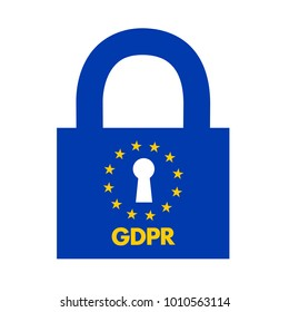 GDPR ( General Data Protection Regulation ) - data and personal information are protected by lock. Vector illustration