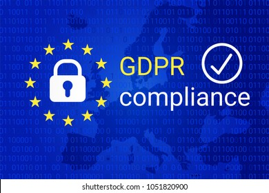 GDPR - General Data Protection Regulation. GDPR compliance symbol. Vector illustration