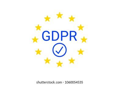 GDPR - General Data Protection Regulation. GDPR compliance symbol. Vector illustration