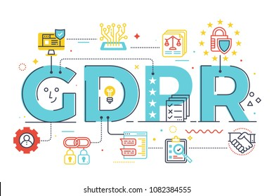 GDPR (General Data Protection Regulation) word lettering illustration with icons for web banner, landing page, essay, etc.
