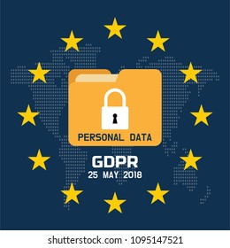 GDPR - General Data Protection Regulation, protection data 25 may 2018. World map EU and flag. Vector illustration.