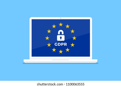 GDPR, General data protection regulation concept. Laptop with european union flag, and privacy padlock