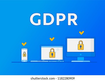GDPR General Data Protection Regulation. Protection of personal data. Vector illustration.