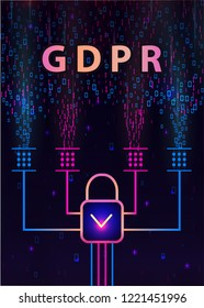GDPR - General Data Protection Regulation and lock on  background of matrix code.Cryptographic analysis, hacking, decoding. Computer encryption technology. Separation of a digital signal streaming.