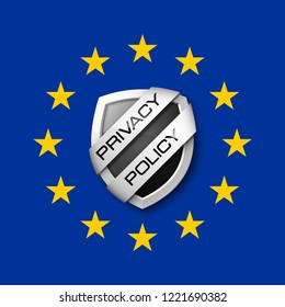 GDPR General Data Protection Regulation EU shield. Gdpr badge internet business guard shield. Safety badge vector icon. Security label. Defense safeguard tag. Privacy policy protect sticker shape icon