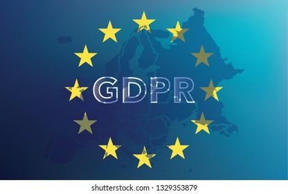 GDPR - General Data Protection Regulation on EU map and flag. Vector illustration