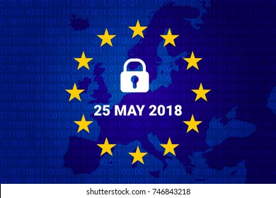 GDPR - General Data Protection Regulation. data 25 may 2018. Map EU and flag. Vector illustration