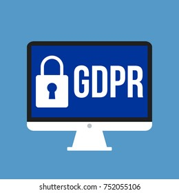 GDPR - General Data Protection Regulation, big lock and letters on computer display