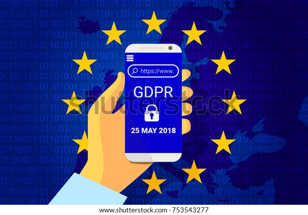 GDPR - General Data Protection Security technology background. Regulation. phone in hand with GDPR text and confidential data lock. Vector illustration