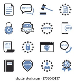 GDPR Icons. Two Tone Flat Design. Vector Illustration.