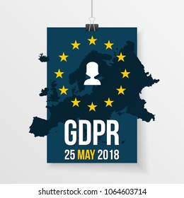 GDPR illustration with europe map, personal data icon on a hanging paper.