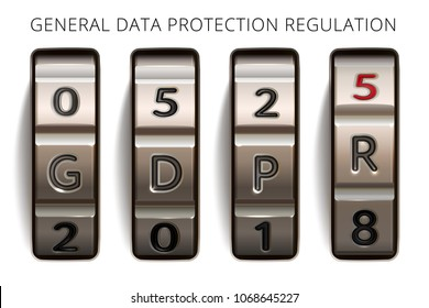 GDPR info banner. General data protection regulation of European Union. Realistic vector case code lock. Combination lock demonstrates the date when set of rules becomes enforceable, from 25 May 2018.
