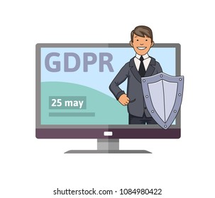 GDPR initiation date. Smiling man in suit with the shield standing out from computer monitor. Concept vector illustration. Flat style. Isolated on white background.