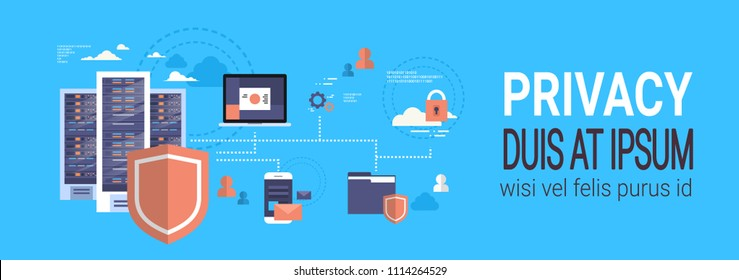 GDPR isometric infographic data privacy on blue background network protection of personal storage General Data Protection Regulation concept banner copy space