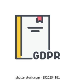 GDPR law color line icon. Network secure regulation vector outline colorful sign.