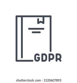 GDPR law line icon. Network secure regulation vector outline sign.