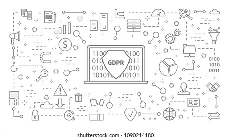 GDPR line icons set on white background.