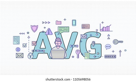 GDPR in Netherlands. Algemene verordening gegevensbescherming. Computer user among internet and media symbols with big AVG letters behind. GDPR, AVG, DSGVO, DPO. Flat vector illustration. Horizontal.