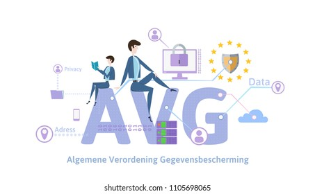 GDPR in Netherlands. Algemene verordening gegevensbescherming. People sitting on big AVG letters with internet security symbols around. GDPR, AVG, DSGVO, DPO. Flat vector illustration. Horizontal.