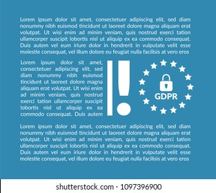 GDPR notice with exclamation mark and place for text.GDPR ordinance