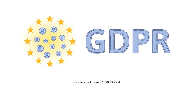 GDPR and online security. Personal accounts in circle of European Union stars. GDPR letters. General Data Protection Regulation. Flat vector concept illustration. Isolated on white background.