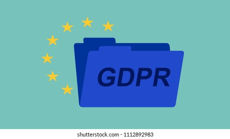 GDPR privacy concept with folder and EU stars