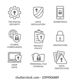 GDPR & Privacy Policy Icon Set with locks, padlocks and shields
