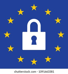 Gdpr privacy Regulation sign. European Union vector illustration. GDPR is General Data Protection Regulation in European Union.