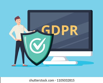 GDPR protector. Smiling cartoon character with a shield in front of the screen showing GDPR letters. Flat vector illustration. Isolated on white background. General Data Protection Regulation.